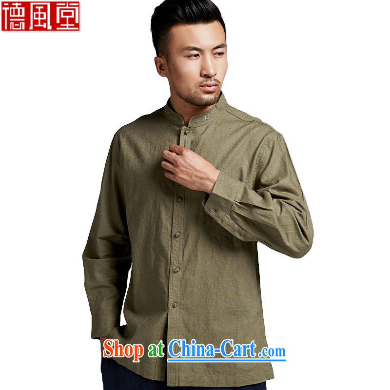 De-tong P. Xuan cotton the long-sleeved T-shirt Chinese, for men Chinese elderly in men's boutique China wind forces green XXXL