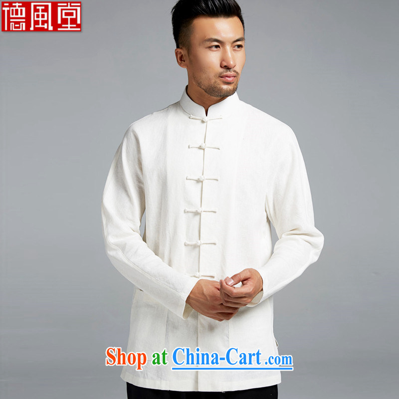 De-tong Dong Jun cotton Ma Man Tang with improved shirt traditional double-shoulder China wind youth fashion beauty spring 2015 white M