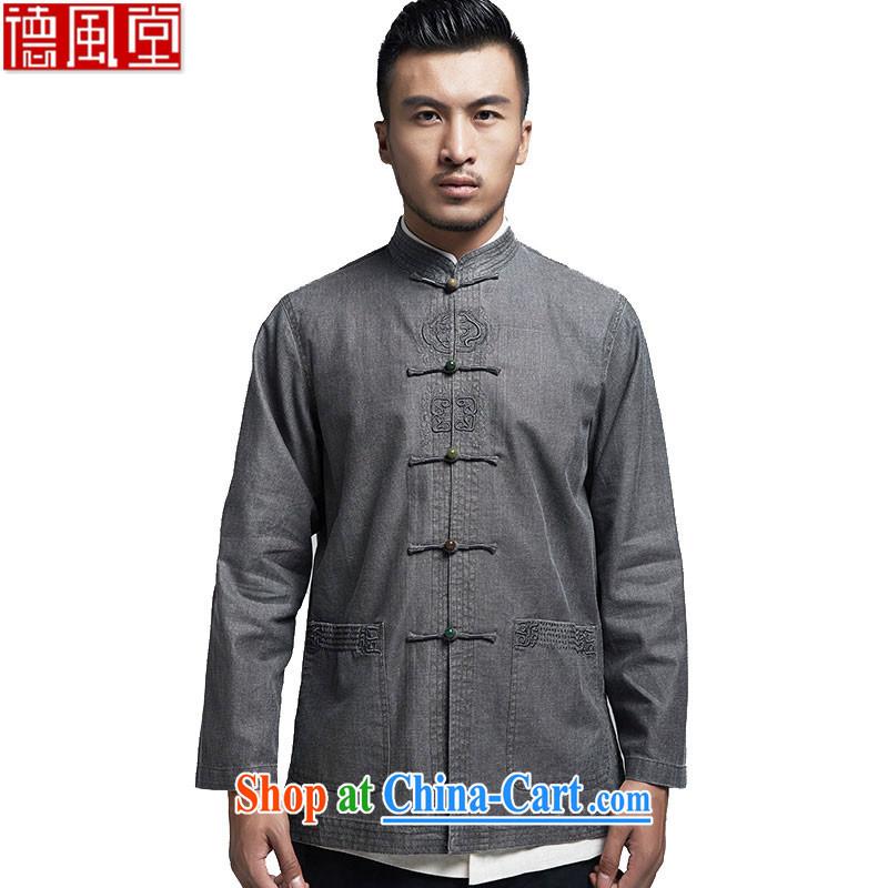 De-cousin, linen men Tang jackets, older Chinese long-sleeved China wind men's 2015 spring dark gray 4 XL