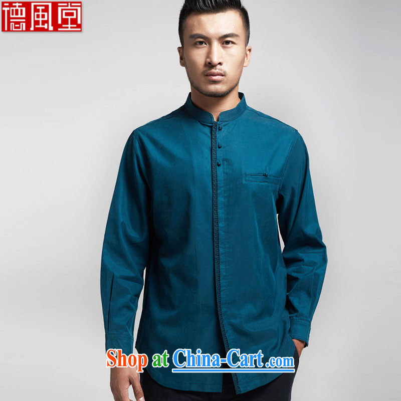 De-Tong Jun 2015 world import day, Chinese men's long-sleeved T-shirt fall and winter Youth Chinese solid T-shirt Chinese wind men's clothing Chinese clothing blue 50