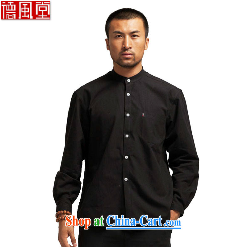 De-tong also lifting cotton muslin Chinese men's shirts Chinese Spring and Autumn 2015 solid T-shirt Chinese wind surrounded the collar black XXL