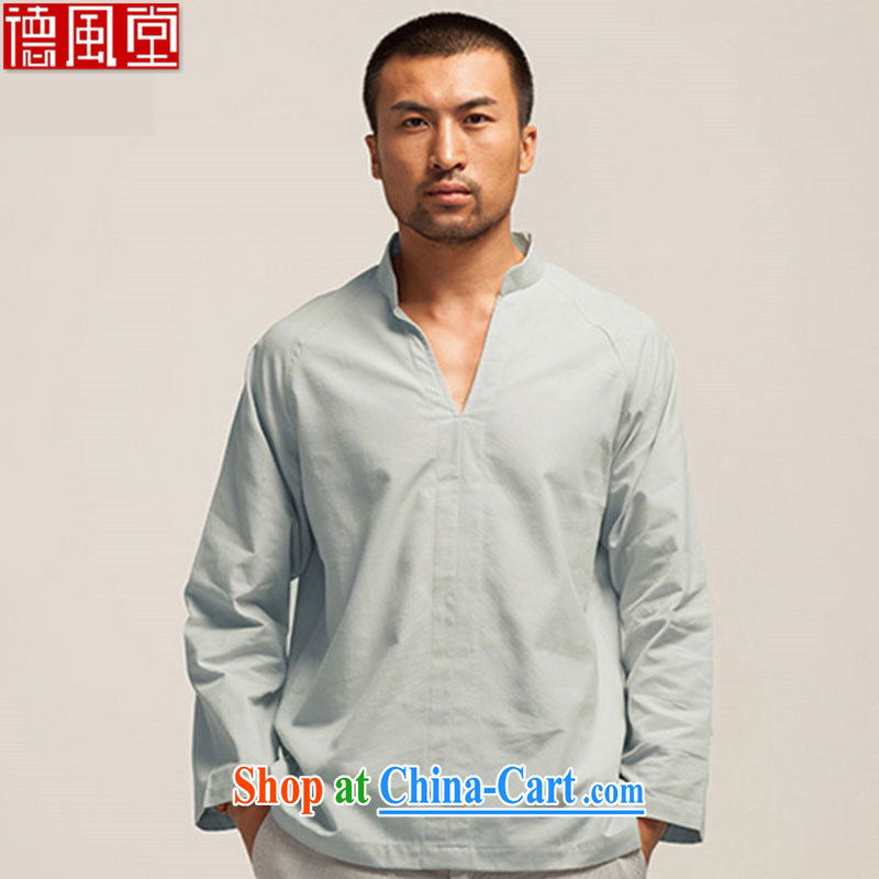 De-tong-hsuan-chi Tang package head V collar cotton muslin long-sleeved T-shirt spring 2015 China wind and light gray XXXL