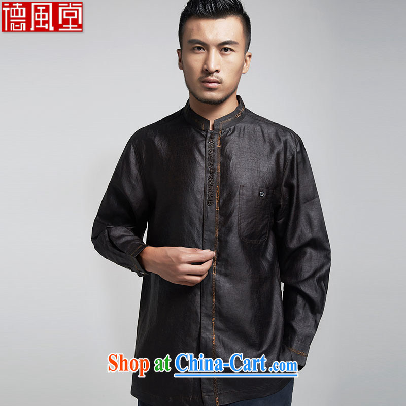 De-Tong Ya taxi silk Chinese men's shirts Hong Kong cloud yarn long-sleeved three-dimensional embroidery China wind men's 2015 spring black 52_XXXL