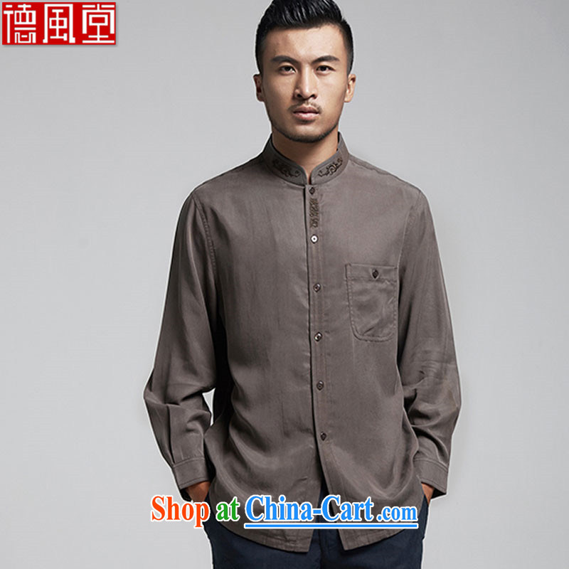 De-tong-ho Yu Day, stylish long-sleeved cardigan dress shirt refined embroidery men's Chinese T-shirt China wind male 2015 spring loaded brown 52
