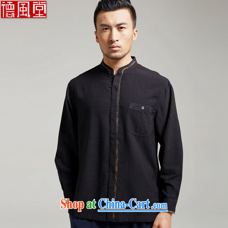 De-hall where the older Chinese men's long-sleeved cotton the Chinese Tang mounted 2015 new improved Han-Chinese wind black XXL
