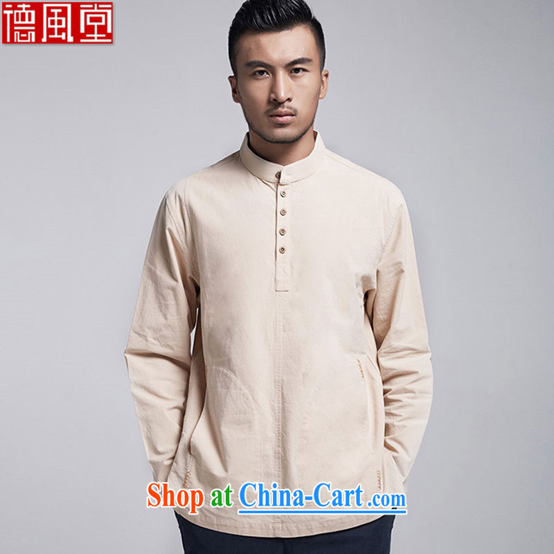 De-church networks fall 2015 cotton muslin long-sleeved Chinese men's T-shirt Chinese, for sweater with side pockets yellow 52