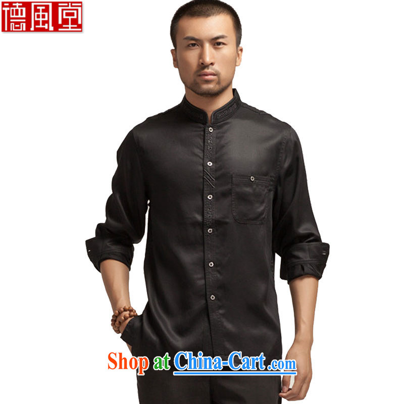 De-TONG HIN headquarters, China for embroidery men's shirts long-sleeved 2015 spring shirts imported fabrics boutique China wind male black XXL