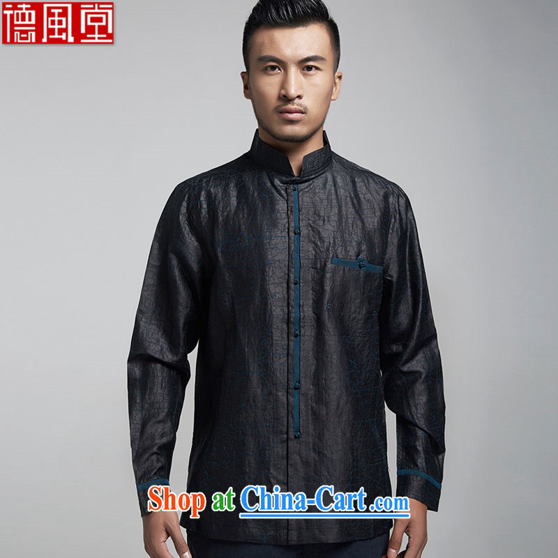 De-tong, the 2015 original incense cloud by Chinese men and long-sleeved T-shirt is silk Chinese domestic Chinese China wind black XXL