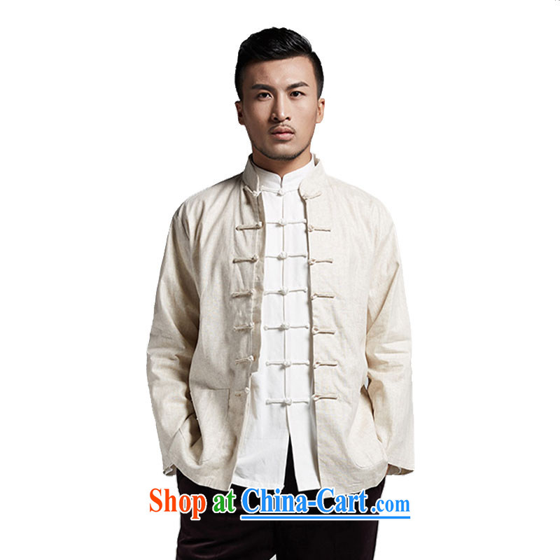 De-tong of the Commission diligently tang on men's solid Spring and Autumn T-shirt long-sleeved T-shirt China wind male Cornhusk yellow 4 XL, wind, and shopping on the Internet