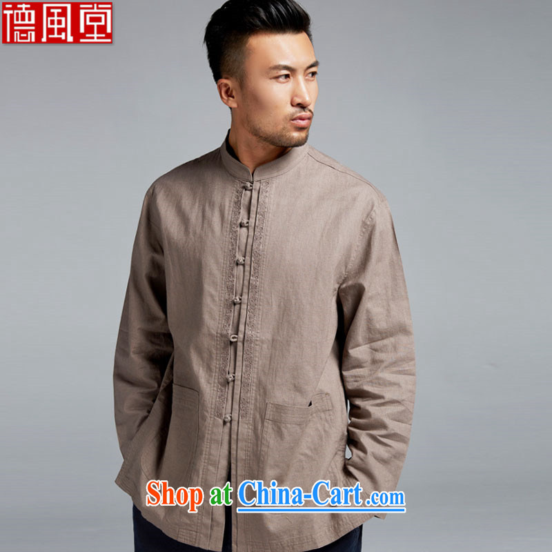 De wind Kim cold 2015 cotton the breathable long-sleeved T-shirt Chinese, for Chinese men's T-shirt the older male Chinese wind brown XXXL