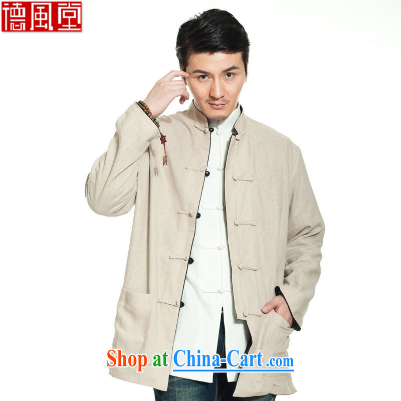 De-Church is not the central 2015 cotton Ma two-pass through Chinese male jacket Chinese traditional load value, China wind male black + Cornhusk yellow XXXL