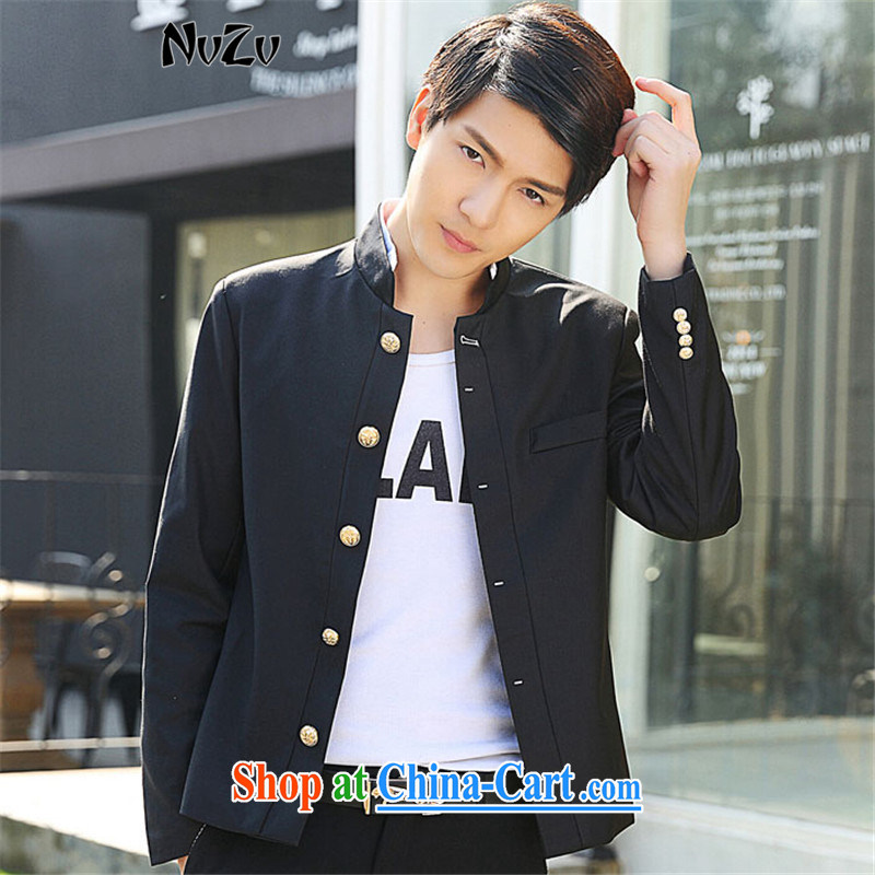 NvZv 2015 spring new men, new small suit Korean Beauty graphics thin Single Row tie smock boys jacket black XXL