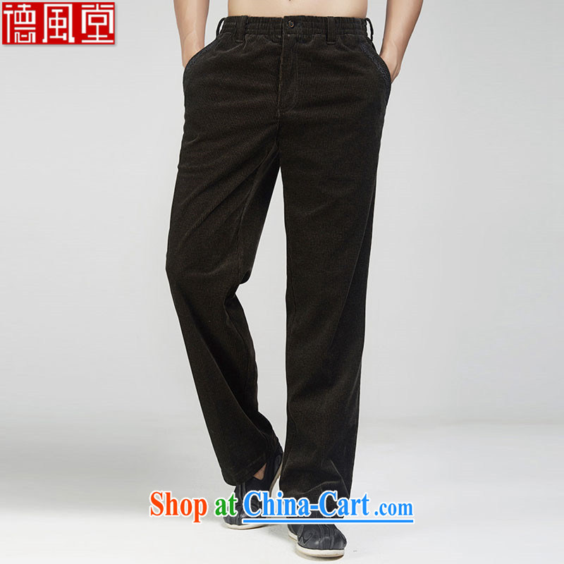 De-tong Woon 2015 autumn and winter pants Chinese men Tang with improved business pants three-dimensional trim embroidery fine china wind men's coffee-colored 52
