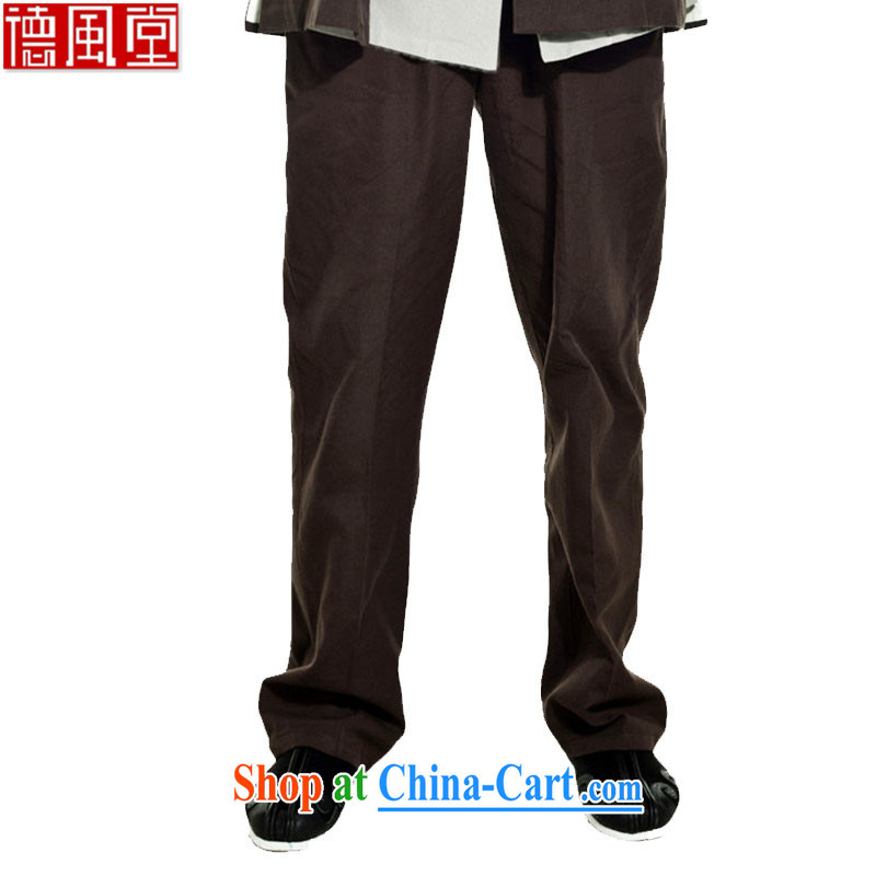 De-tong in 2015 really cotton muslin spring tension Chinese pants Chinese pants double-side pockets pristine Chinese Wind and dark coffee XL