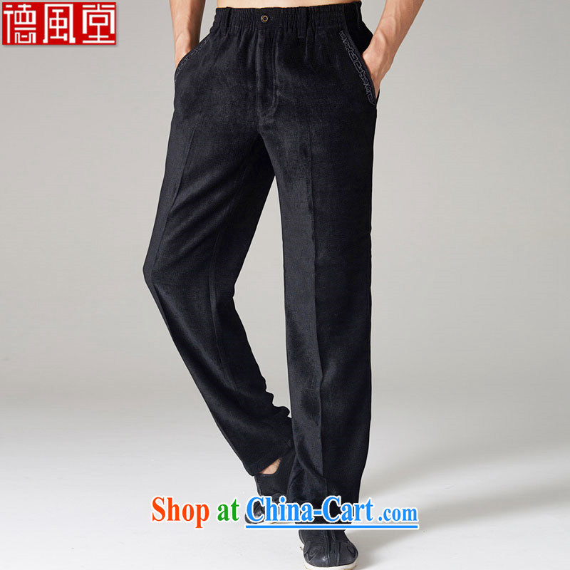 De-Tong Sheng lint-free cloth 2015 Chinese Tang pants fall and winter high-dimensional embroidery trim trousers model men's trousers black XXL