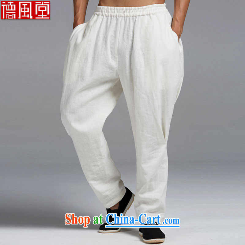De-tong by cloud cotton Ma 2015 spring and summer Chinese men's trousers Chinese Harlan pants Elasticated waist and stylish cool cool China wind white L_165
