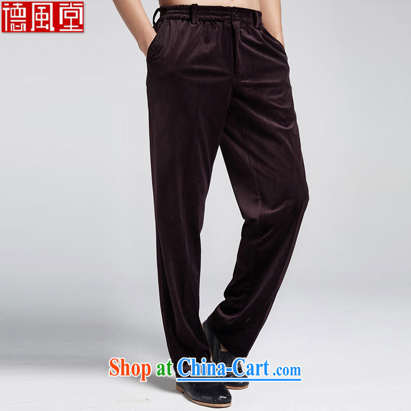 De-Church through cloud 2015 autumn and winter Chinese men's short pants leisure Kim wool Elastic waist men's trousers mauve XXXL