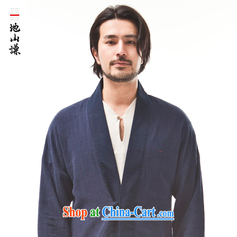 To Hill him China wind innovation, served on T-shirt Chinese Zen T-shirt men's stylish ethnic wind leisure jacket, dark blue (XXL)