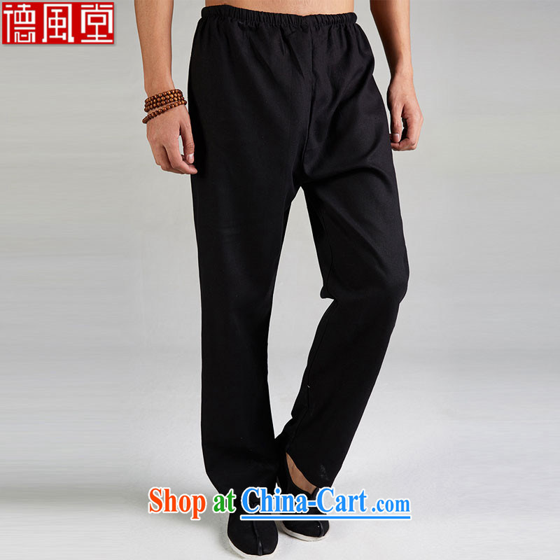 De-mist Tong 2015 cotton Ma Chinese men and casual pants with elasticated trousers jogging home trouser press and Lightweight breathable China wind men's black M