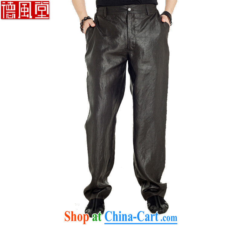De-tong, 2015, silk fragrant cloud yarn Chinese men's trousers summer pants with silk loose China wind male brown XXXL