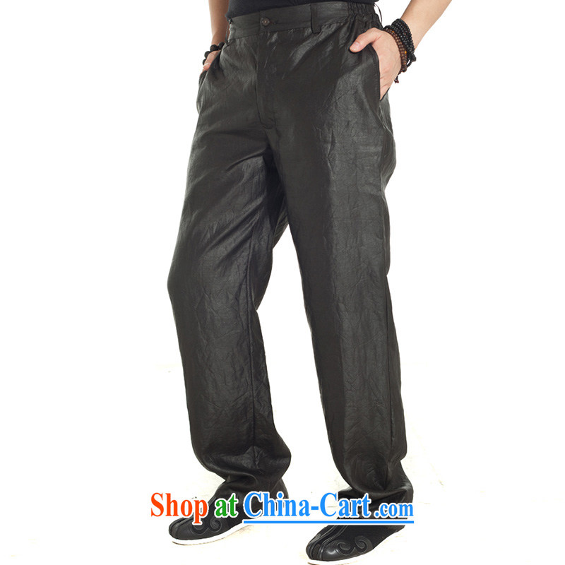 De-tong, 2015, silk fragrant cloud yarn Tang on men's trousers summer pants with silk loose China wind men's brown XXXL, de-tong, and shopping on the Internet