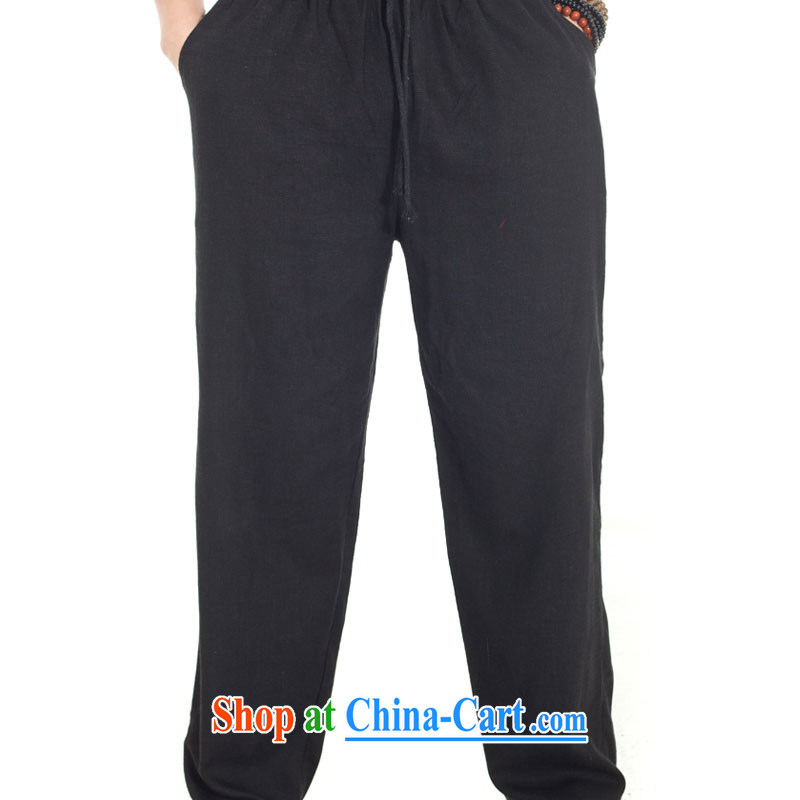 De-tong wind 2015 linen Chinese summer men's trousers loose pants Chinese pant elastic original Chinese wind male black XXL, wind, and, on-line shopping