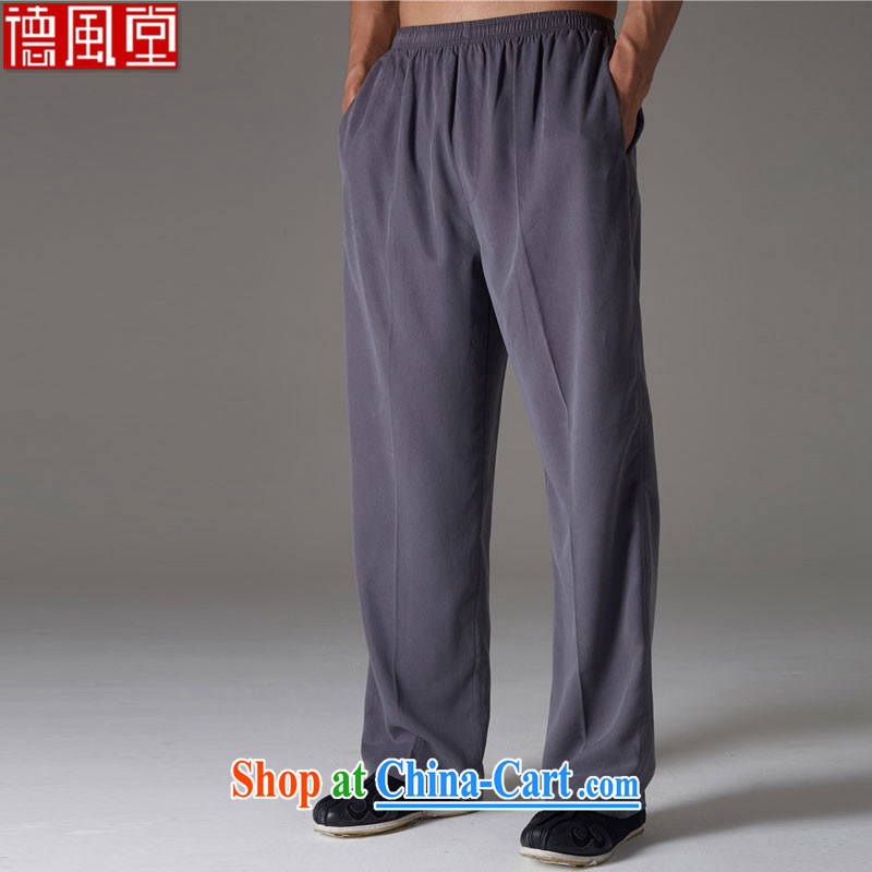 De-Tong Ching Yam summer new Chinese male and pants boutique style elasticated waist Solid Color men's trousers dark gray XXXL