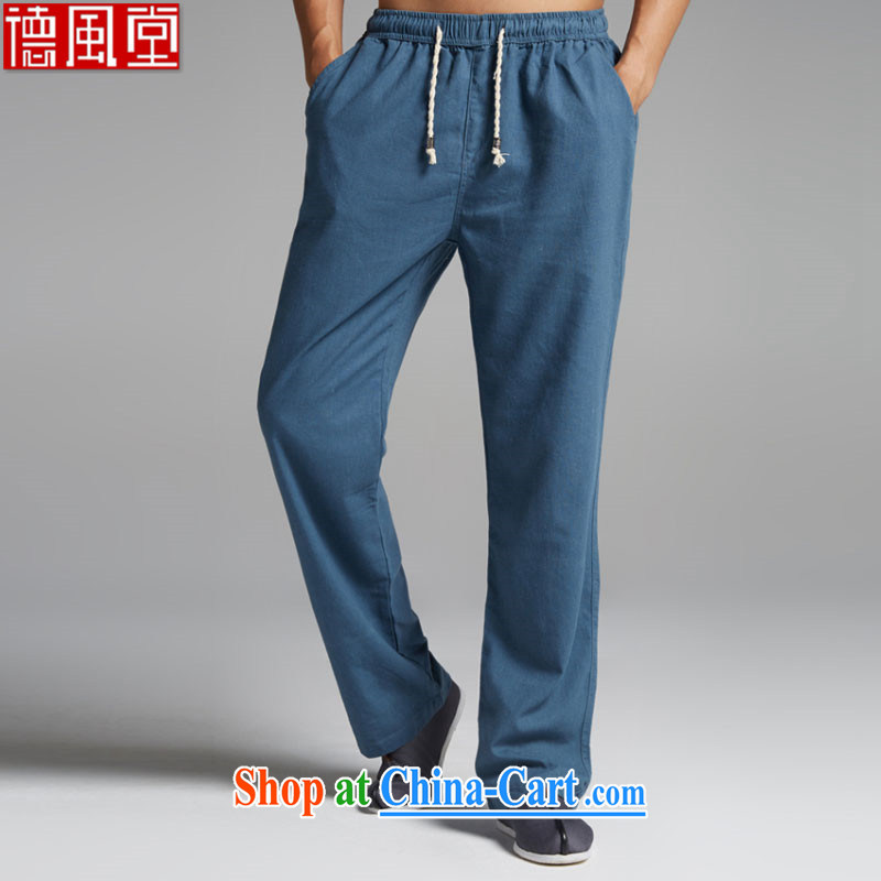 De-tong breeze linen summer Chinese men's trousers Chinese accessible lounge down soft thin China wind trousers blue XL