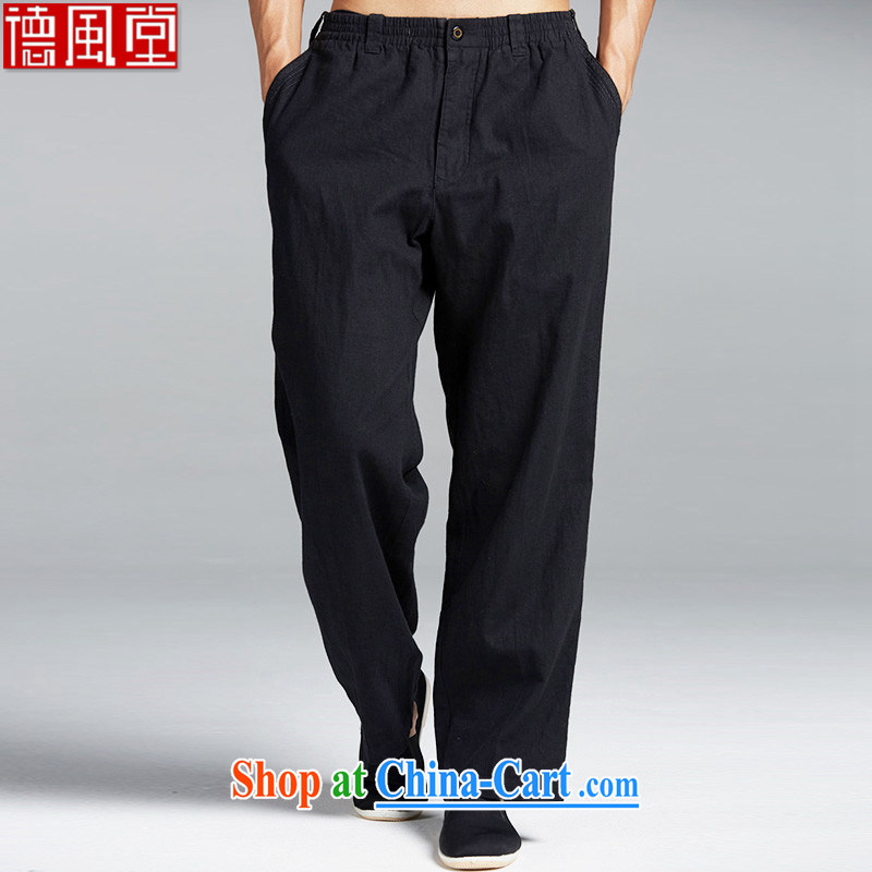 De wind church universal suffrage power units the Chinese Tang on men's trousers Elasticated waist and chic embroidery China wind summer comfortable black XL