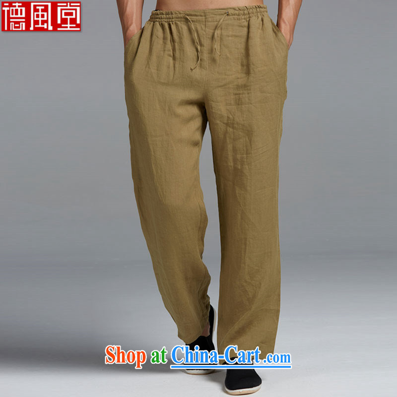 De-tong High?ramie Chinese men's 2015 summer trousers Chinese elastic leisure men's trousers China wind yellow and green XXXL