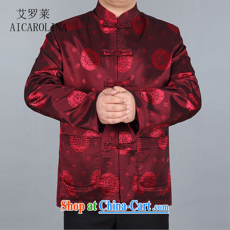 The Spring and Autumn Period, the men's Chinese elderly in elderly quilted coat men's winter grandfather Chinese jacket Chinese red XXXL