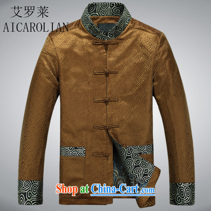 The Carolina boys spring loaded Tang in the older Chinese men's National wind Chinese clothing jacket gold XXXL