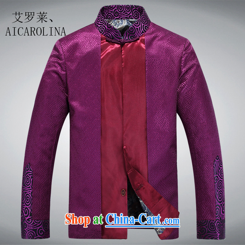 The spring, new men's long-sleeved T-shirt, elderly Chinese men and Spring and Autumn Chinese men and long-sleeved purple XXXL