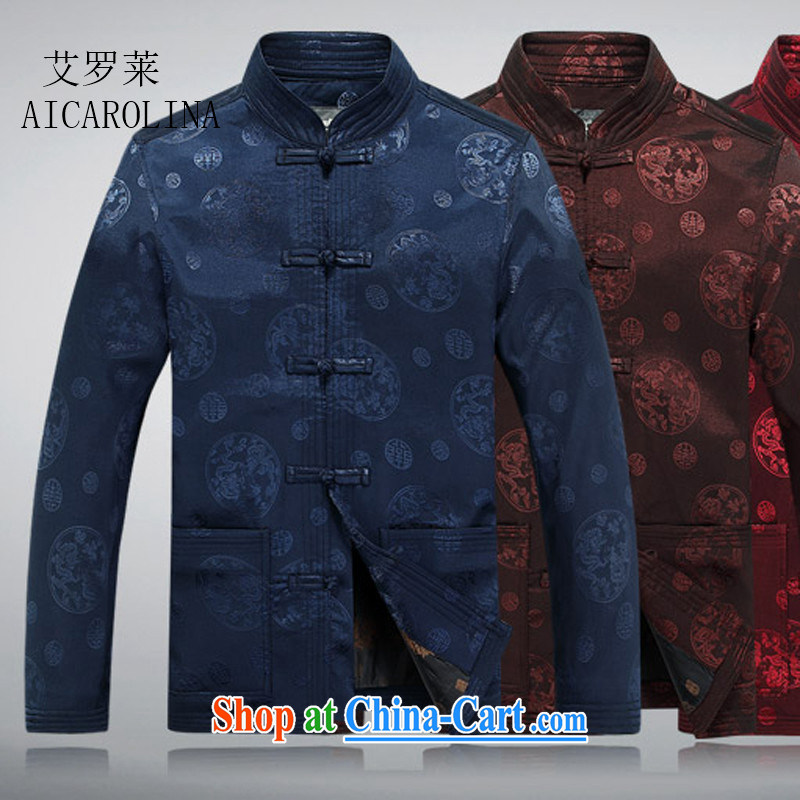 The spring, China wind up for long-sleeved men fall and winter Chinese standard T-shirt jacket older Tang blue M