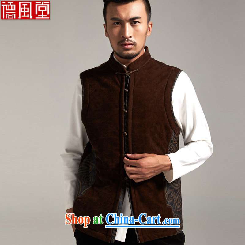 De-Tang Lai Yin Hong Kong cloud yarn Man Tang is a thick, Chinese T-shirt thin warm Chinese wind dark coffee XXXL