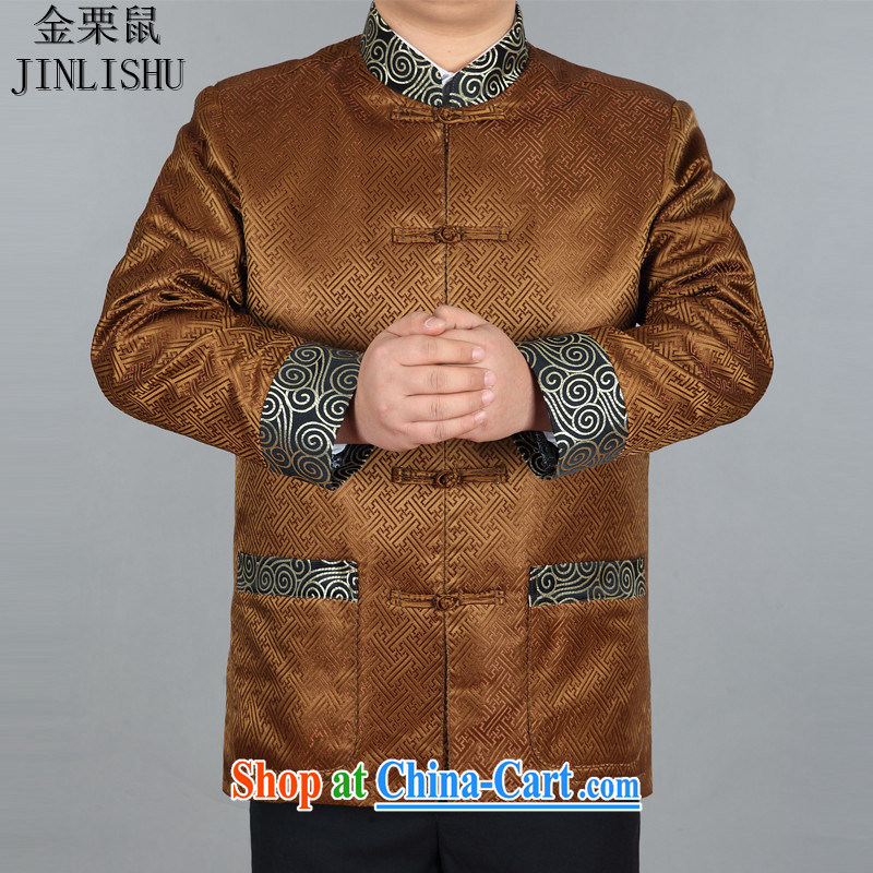 golden poppy mouse Chinese Chinese men's long-sleeved spring loaded T-shirt Tang jackets Chinese style dress gold XXXL