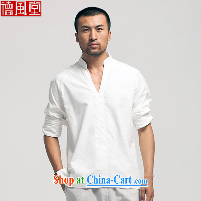 De-tong of the cotton muslin, for Chinese men and a short-sleeved Chinese sweater China wind and summer 2015 white L
