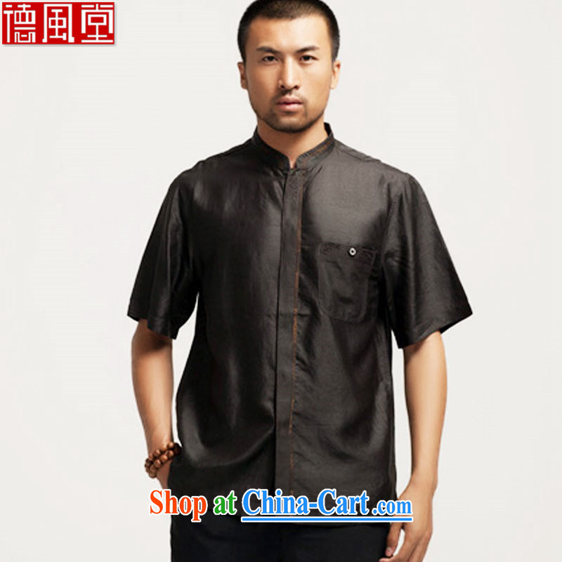 De-Tong Chun Nga silk incense cloud yarn Chinese summer short-sleeve T-shirt Chinese shirt聽 China wind male black XXL