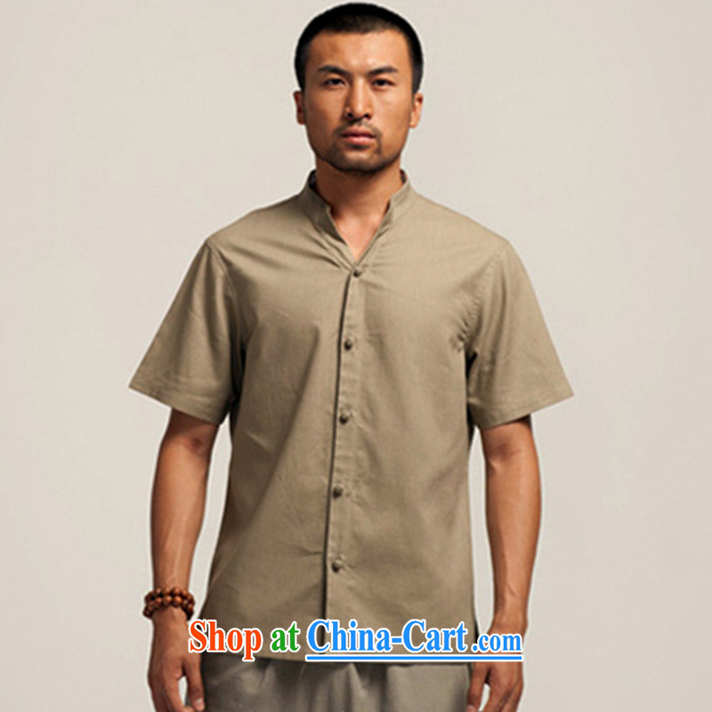 De wind Hall fame China wind cotton the commission improved men's Chinese 2015 summer short-sleeved T-shirt Chinese shirt green M, de-tong, and shopping on the Internet