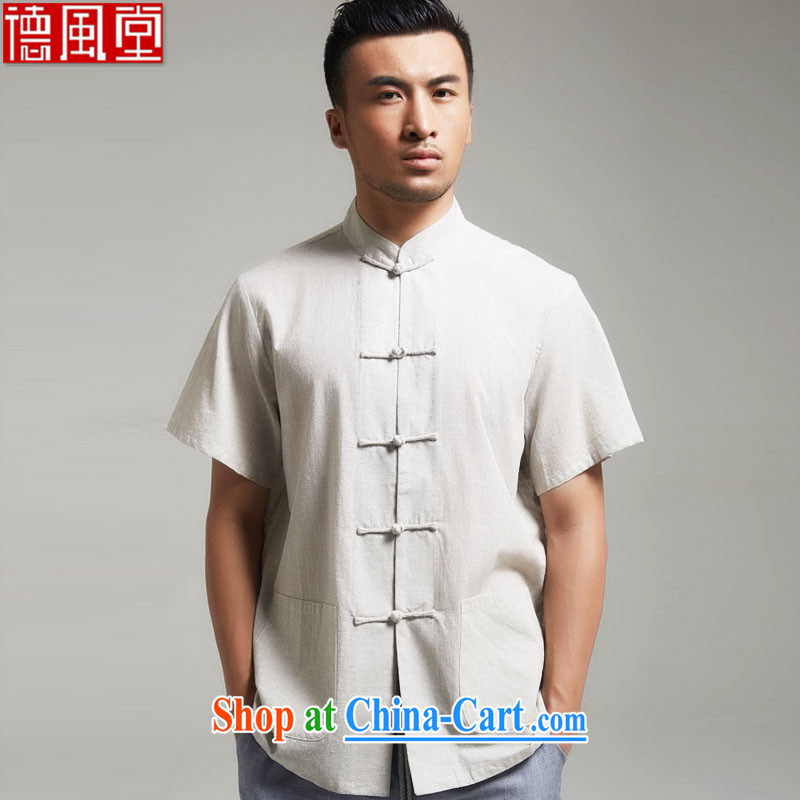 De wind church orphan image 100% Cotton short-sleeved Chinese T-shirt XL new Chinese men's summer 2015 gray XXXL