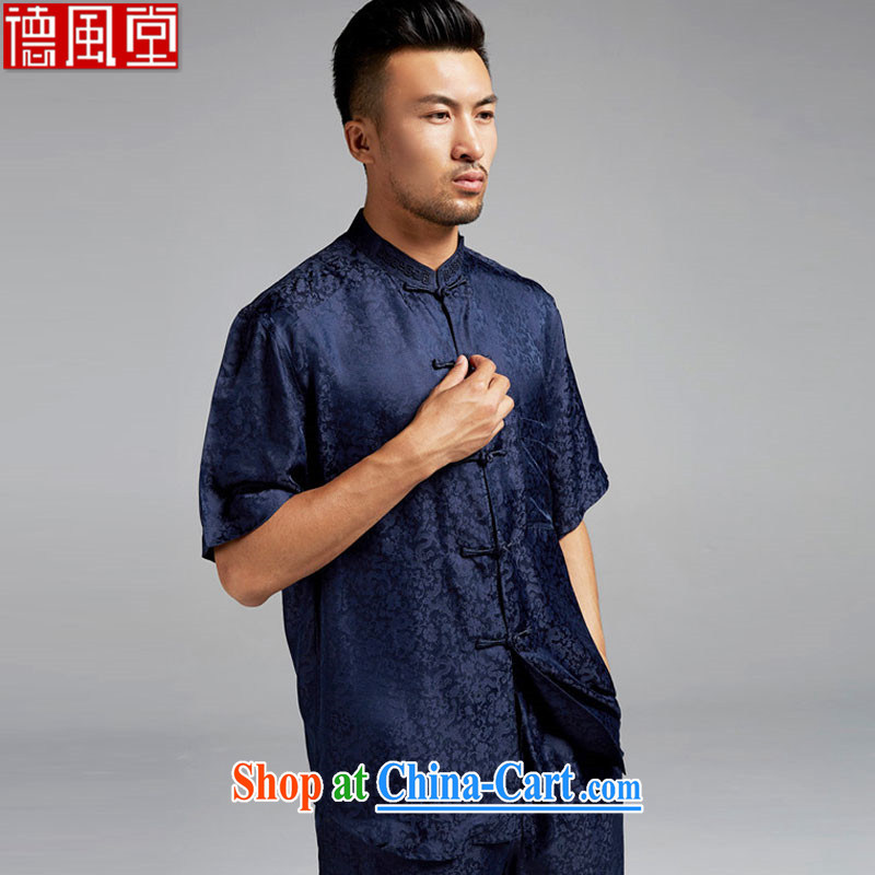 De-Tong Xing He silk Chinese short-sleeve Chinese-tie-soo for men's shirts taste excellent Chinese wind 2015 summer dark XXL