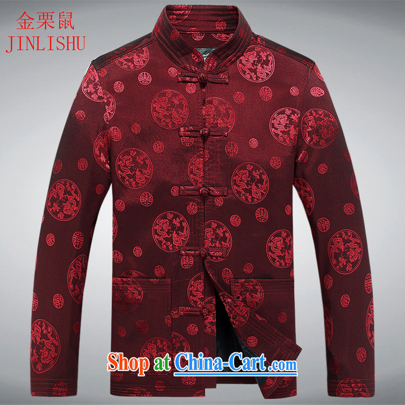 The chestnut Mouse middle-aged and older men's Chinese father with long-sleeved jacket China wind men's spring loaded new older persons T-shirt red XXXL