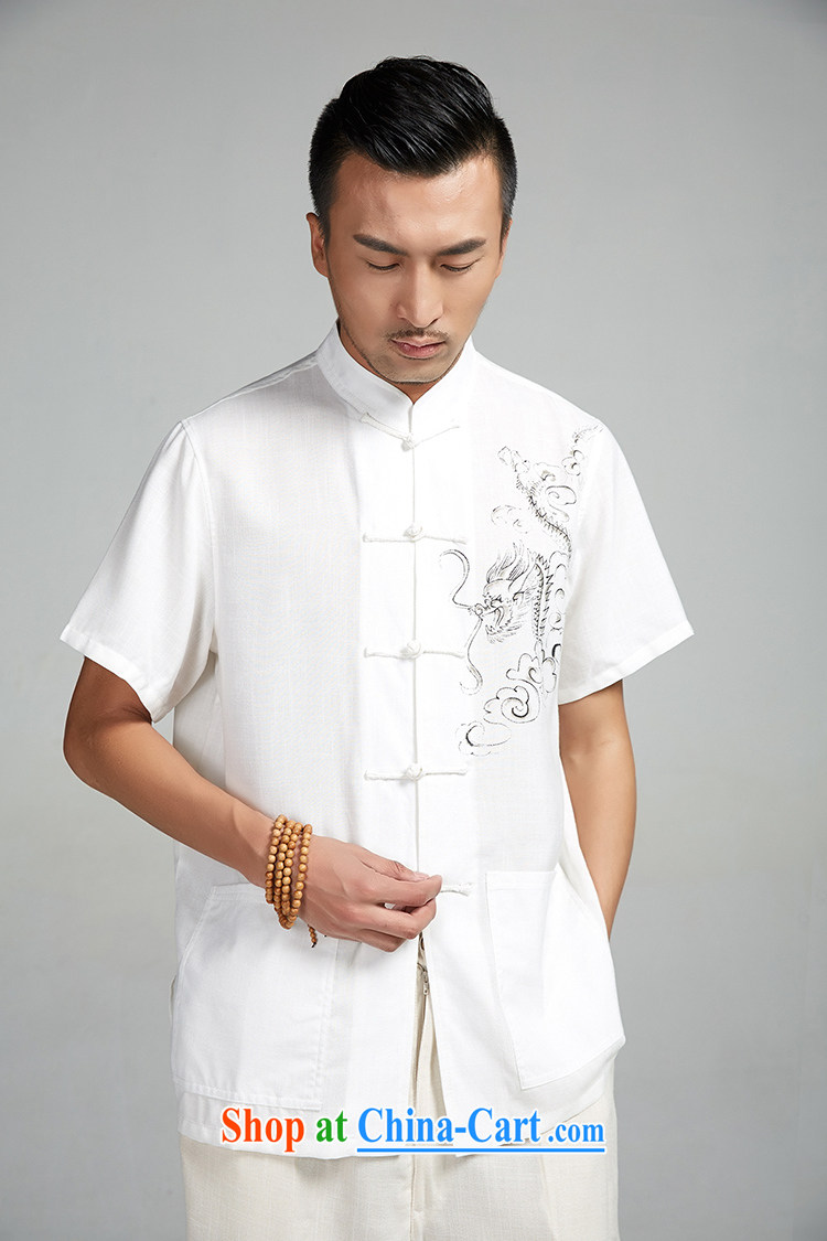 De-tong the Kowloon Yau Ma Tei cotton hand-painted Chinese men and 2015 short-sleeve summer shirt Chinese national air leisure China wind white 4XL/185 pictures, price, brand platters! Elections are good character, the national distribution, so why buy now enjoy more preferential! Health