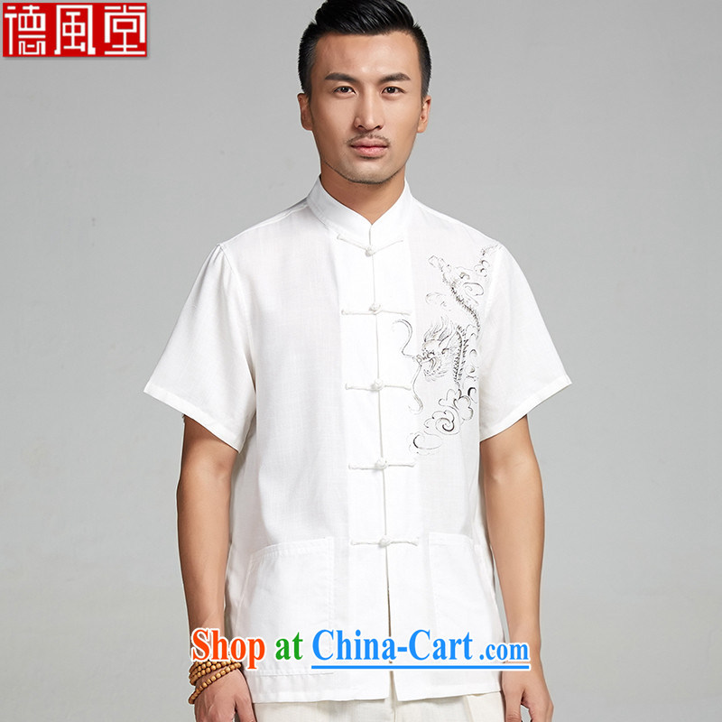 De-tong the Kowloon Yau Ma Tei cotton hand-painted Chinese men and 2015 short-sleeve summer shirt Chinese national air leisure China wind white 4XL/185