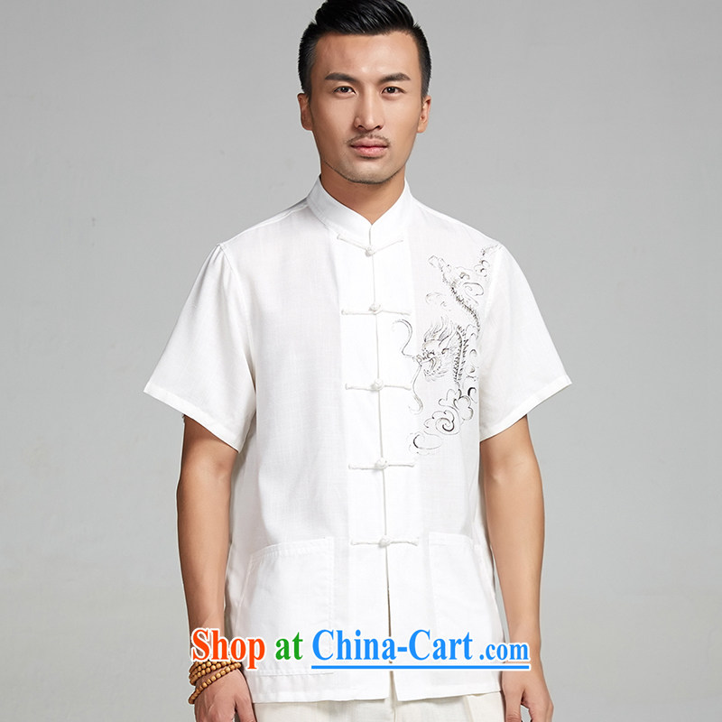 De-tong the Kowloon Yau Ma Tei cotton hand-painted Chinese men and 2015 short-sleeve summer shirt Chinese nation as well as the leisure China wind white 4XL/185, the church, and, on-line shopping