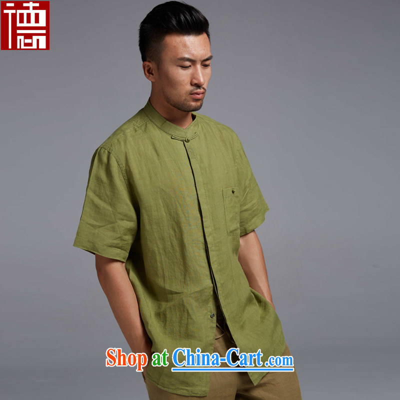 De-tong harness GE 2015 new linen Chinese short-sleeved Chinese shirt summer improved breathability and comfort Chinese Wind and dark green XXXL