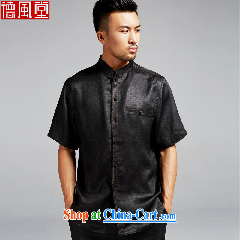 De-tong-chun, silk incense cloud yarn Tang with short-sleeved Chinese chumps for cultivating shirt China wind and summer 2015 black XXL