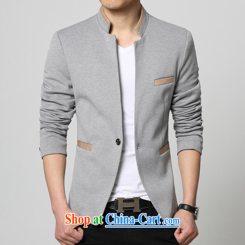 Waxberry 2015 spring new Korean casual male, for small suits, Western jacket smock knit men's beauty would suit gray 185_3 XL