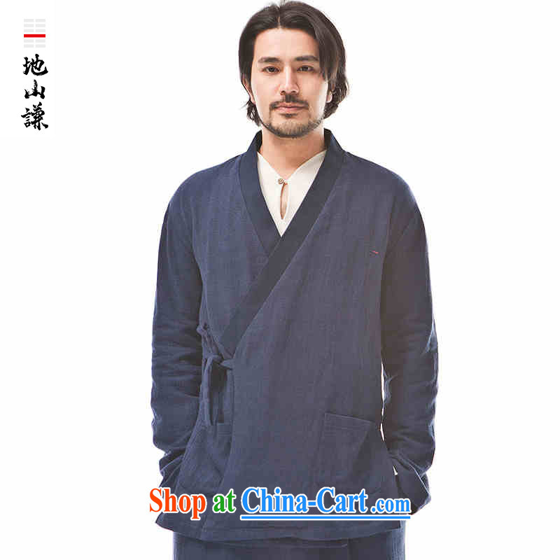 To him, Chinese style in a new, Zen is a flap Han-man and the T-shirt Chinese chic and comfortable spring T-shirt blue dark blue jumbo (XL)