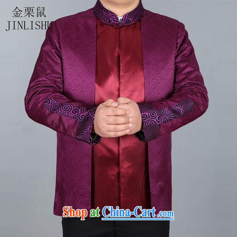 The chestnut Mouse middle-aged and older Chinese long-sleeved jacket spring loaded new male Chinese T-shirt Chinese Chinese male jacket purple 190